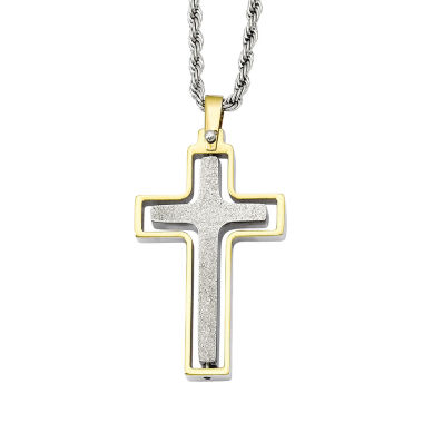 jcpenney.com | Mens Stainless Steel Yellow Ip-Plated Moveable Cross Pendant