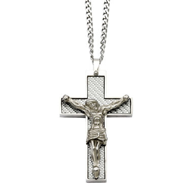 jcpenney.com | Mens Stainless Steel Grey Carbon Fiber Crucifix Pendant