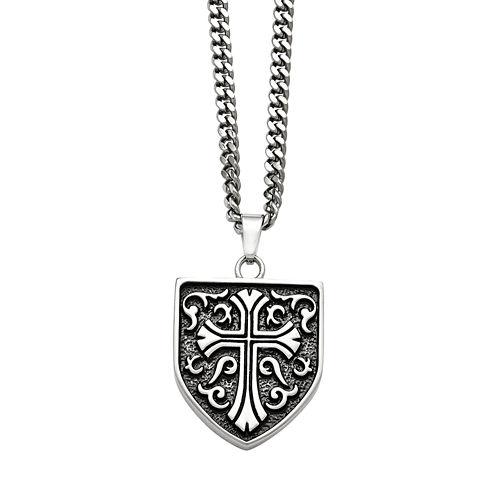 Mens Stainless Steel Antiqued Cross Shield Pendant