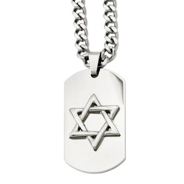 jcpenney.com | Mens Stainless Steel Star Of David Dog Tag Pendant