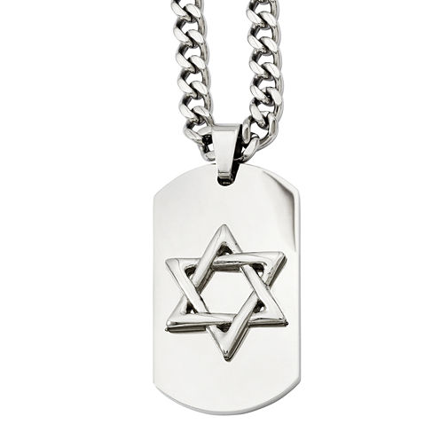 Mens Stainless Steel Star Of David Dog Tag Pendant