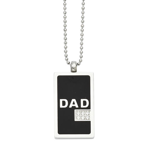Mens Cubic Zirconia Stainless Steel Dad Dog Tag Pendant