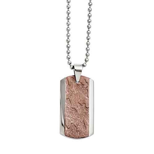 Mens Stainless Steel & Brown Ip-Plated Pendant