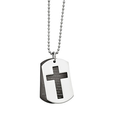 jcpenney.com | Mens Stainless Steel Black Ip-Plated Lord'S Prayer Pendant