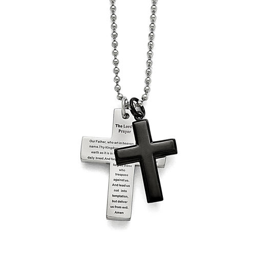 Mens Stainless Steel Black Ip-Plated Lords Prayer Cross Pendant