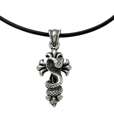 jcpenney.com | Mens Stainless Steel Antiqued Snake And Cross Pendant