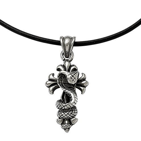 Mens Stainless Steel Antiqued Snake And Cross Pendant