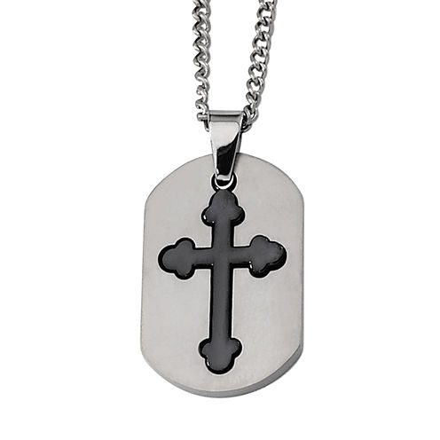 Mens Titanium Black Ip-Plated Moveable Cross Pendant