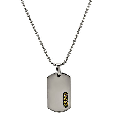 Mens Titanium Yellow Ip-Plated Dog Tag Pendant