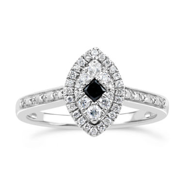 jcpenney.com | 1/3 CT. T.W. White & Color-Enhanced Black Diamond Sterling Silver Marquise Ring