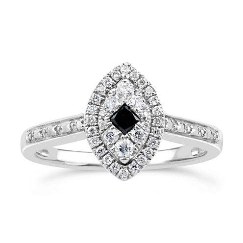 1/3 CT. T.W. White & Color-Enhanced Black Diamond Sterling Silver Marquise Ring