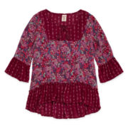 Arizona 3/4-Sleeve Woven Printed High-Low-Hem Top - Girls 7-16 and Plus