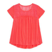 Arizona Short-Sleeve Crochet Yoke Tee - Girls 7-16 and Plus
