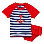 Sol Swim 2-pc. Sailor Love Rash Guard Swimmer Set - Preschool Girls 4-6x