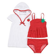 Sol Swim 3-pc. Strawberry Doll Swimsuit and Coverup Set - Toddler Girls 2-4t