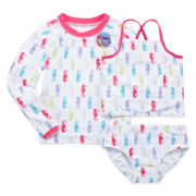 Sol Swim 3-pc. Pretty Seahorses Rash Guard Swimmer Set - Toddler Girls 2-4t
