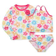 Sol Swim 3-pc. Summer Sweety Rash Guard Swimmer Set - Preschool Girls 4-6x