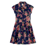 Arizona Short-Sleeve Floral Cotton Shirtdress - Girls 7-16 and Plus