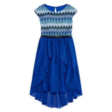 jcpenney.com | Speechless® Short-Sleeve Knit Lace-to-Chiffon Dress - Girls 7-16