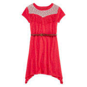 Arizona Short-Sleeve Belted Lace Fringe Yoke Dress - Girls 7-16