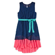 Lilt Sleeveless Hi-Lo Fit-and-Flare Dress - Girls