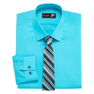 Jf j ferrar long sleeve easy care dress shirt and tie for J ferrar military shirt
