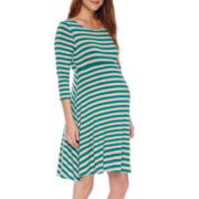 Maternity 3/4-Sleeve Skater Dress - Plus