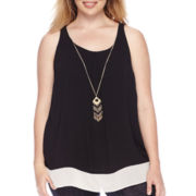 by&by Sleeveless Colorblock Necklace Top - Juniors Plus