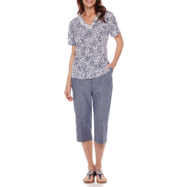 jcpenney.com | Alfred Dunner® St. Augustine Short-Sleeve Monotone Print Top or Capris