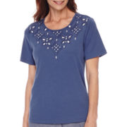 Alfred Dunner® St. Augustine Short-Sleeve Cutout Yoke Top