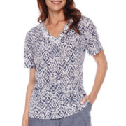 Alfred Dunner® St. Augustine Short-Sleeve Monotone Print Top