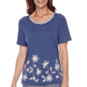 Alfred Dunner® St. Augustine Short-Sleeve Appliqué Top