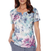 Alfred Dunner® St. Augustine Short-Sleeve Print Lace Top