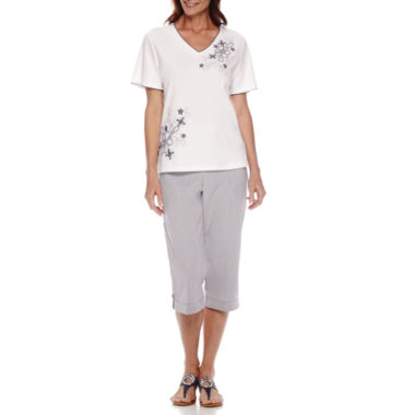 jcpenney.com | Alfred Dunner® St. Augustine Short-Sleeve Floral Embroidery Top or Capris