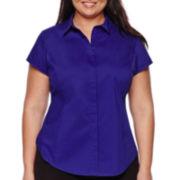 Worthington® Princess Seam Short-Sleeve Shirt - Plus