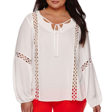 jcpenney.com | Worthington® Long-Sleeve Lace Inset Boho Peasant Top - Plus