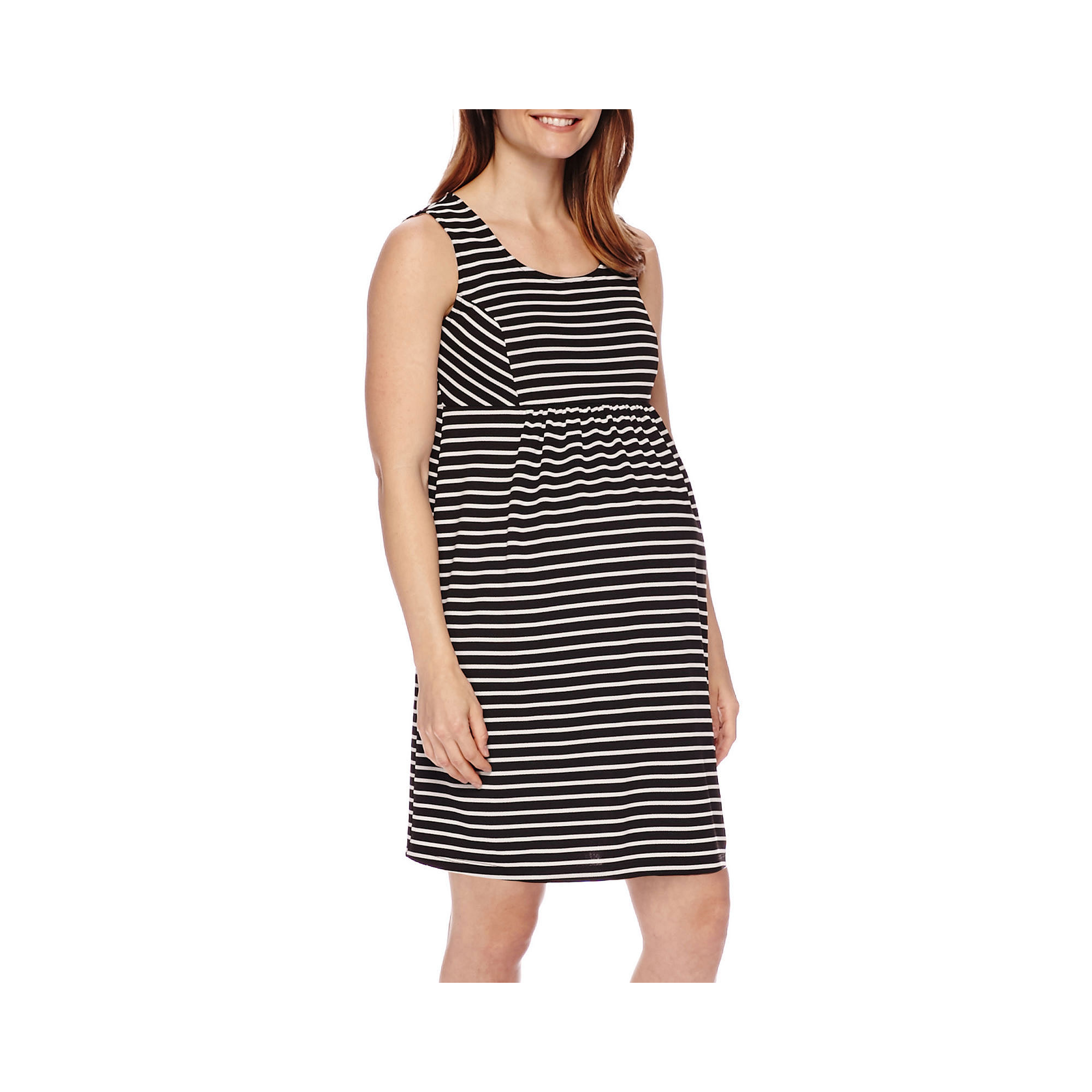 Sleeveless Stripe Ponte Maternity Dress plus size,  plus size fashion plus size appare