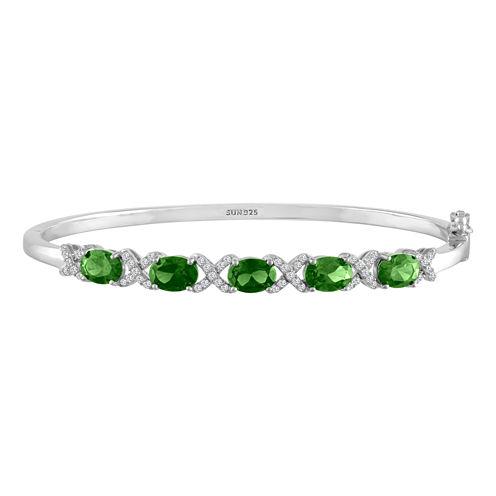 Womens Green Emerald Sterling Silver Bangle Bracelet