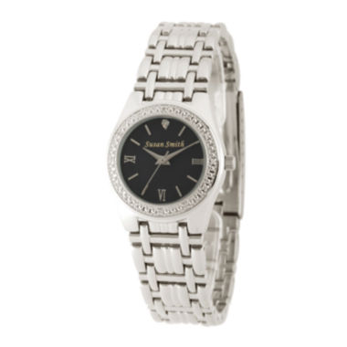 jcpenney.com | Personalized Dial Womens Diamond-Accent Silver-Tone Bracelet Watch