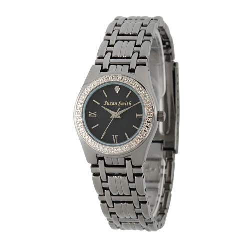 Personalized Dial Womens Diamond-Accent Black Bracelet Watch