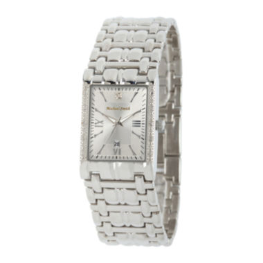 jcpenney.com | Personalized Dial Mens Diamond-Accent Square Silver-Tone Watch