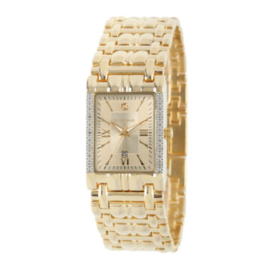 jcpenney.com | Personalized Dial Mens Diamond-Accent Square Gold-Tone Watch
