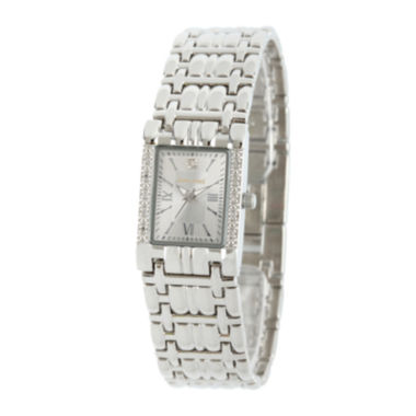 jcpenney.com | Personalized Dial Womens Diamond-Accent Square Silver-Tone Bracelet Watch