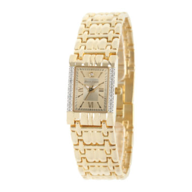 jcpenney.com | Personalized Dial Womens Diamond-Accent Square Gold-Tone Bracelet Watch