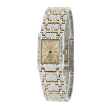 jcpenney.com | Personalized Dial Womens Diamond-Accent Square Two-Tone Bracelet Watch