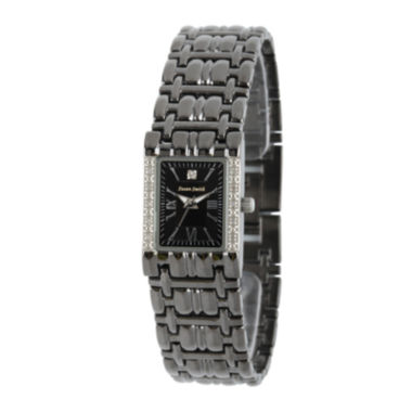 jcpenney.com | Personalized Dial Womens Diamond-Accent Square Black Bracelet Watch