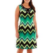 Perceptions Sleeveless Chevron Print Sundress - Plus
