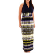London Style Collection Halter Maxi Dress - Plus