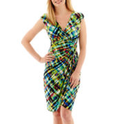London Style Collection Sleeveless Side-Ruched Faux-Wrap Dress - Petite