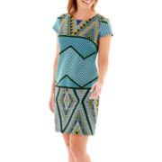Scarlett Short-Sleeve Print Sheath Dress - Petite